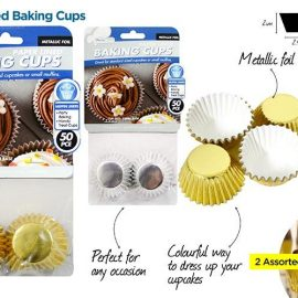 BAKING CUPS 50P 6CM GOLD-SIL KT687