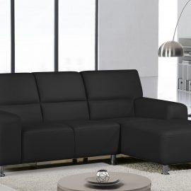 L SHAPE  SEATER PVC  BLACK- KATIE